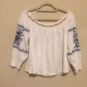 Off the shoulder blouse with embroidered sleeves